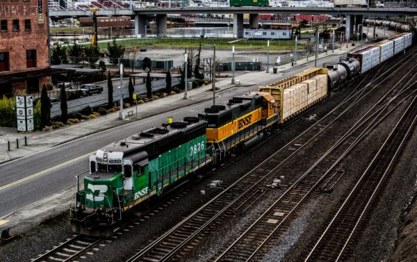 train crossing the city