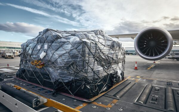 Loading of cargo container at the airport